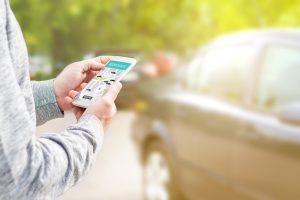 rideshare app on phone